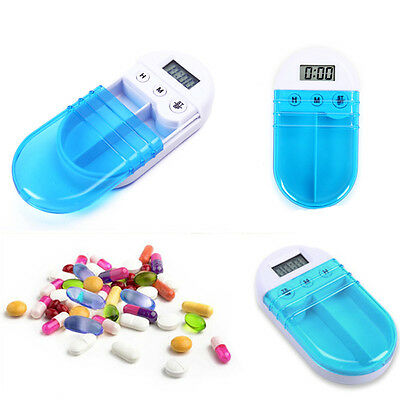 Clock Alarm Pill Container Electronic Medicine Pill Timing Reminder Medical Box