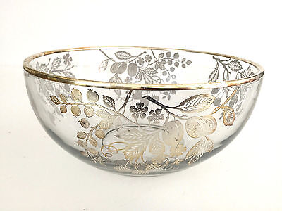 A. H. Heisey & Company clear glass & sterling silver salad bowl 1920's 1930's