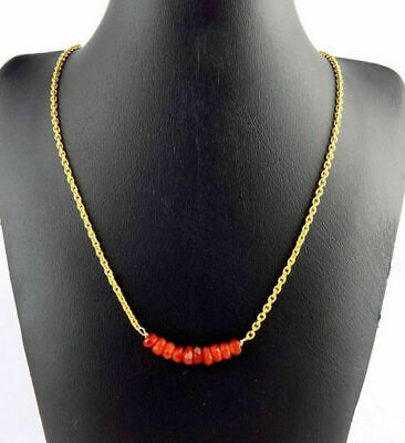 Natural Carnelian Rondelle Jewelry Making Loose Gemstone Beads Gold Plated Chain