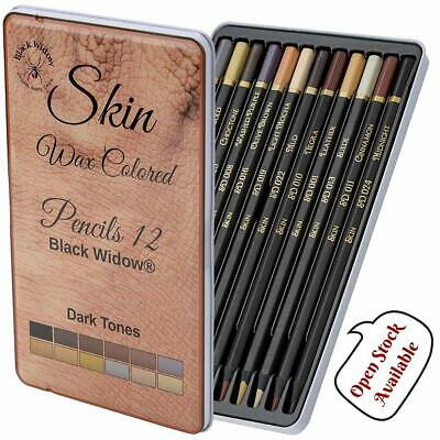 12pc Dark Skin Tone Pencils, Perfect Colored Pencil Set For Adults & Drawing