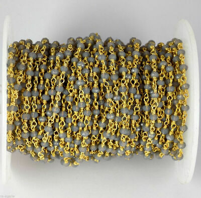 One Foot Matte 16K Gold Plated Brass Base Chains-Box 4mm 419C06