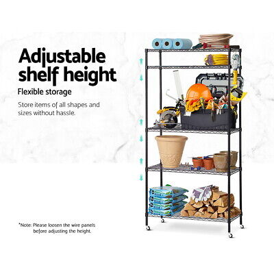 Sturdy 5Tier Wire Shelving Unit Kitchen Garage Storage Trolley Black 90x35x182cm