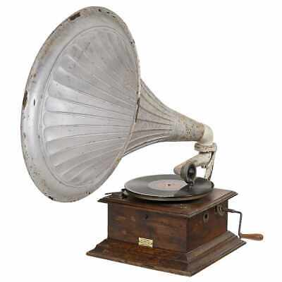 Dulcephone Horn Gramophone, c. 1915 wood case, working + records + needles