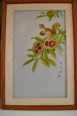 vintage Japanese or Chinese silk embroidery textiles art framed