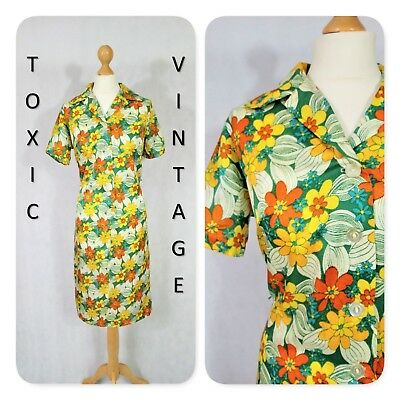 VINTAGE 1960s 1970s FLORAL TROPICAL SHIFT DRESS UK 10-12. MOD TWIGGY GOGO RETRO