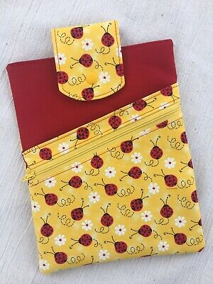 Ladybug Daisy Yellow and Red Book Sleeve Padded Cover, Handmade