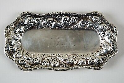Antique Gorham Sterling Silver Repousse Oval Trinket Dish Pin Tray Circa 1860's