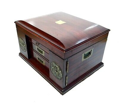 Antique Mahogany Wooden Chest of Collectors Drawers / Box / 19th Century