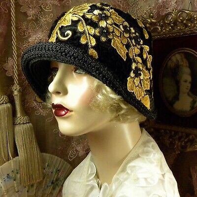 1920'S Vintage Style Black & Gold Beaded Embroidered Cloche Flapper Dress Hat