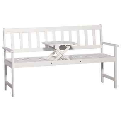 vidaXL Solid Acacia Wood White 3-Seater Garden Bench with Table 158cm Seat#