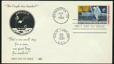 C76 Moon Landing Cachet 1969 Dual Cancel Unaddressed First Day Cover LOT C762