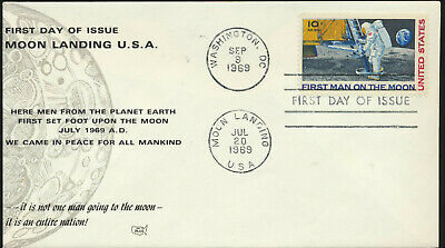 C76 Moon Landing Cachet 1969 Dual Cancel Unaddressed First Day Cover LOT C7611