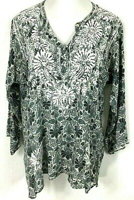 Grey Embroidered 100% Silk Peasant Sheer Blouse Tunic Shirt Top Size XL