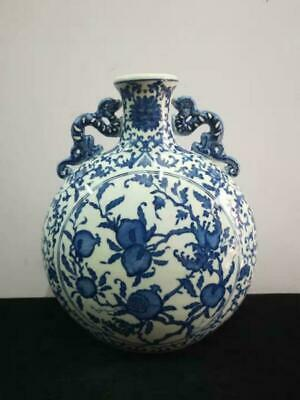 Chinese Ceramic Hand-painted Double Ears Peach Flat Bottle Decorative Porcelain