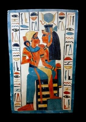 Rare Egyptian Isis Relief Wall Sculpture Horus Goddess Plaque Horus hieroglyphic