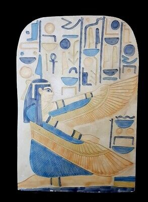 Rare Egyptian Winged Isis Relief Ancient Antique Carved Egypt hieroglyphic stone