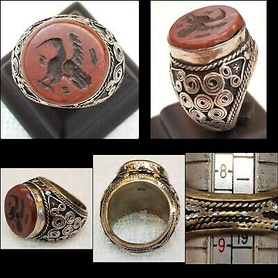 Old Natural Ancient Coral Stone Bird Intaglio Beautiful Antique Silver Ring