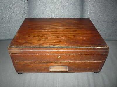 Vintage Wooden Cutlery Box With Drawer Dark Oak Christopher Johnson & Co Empty