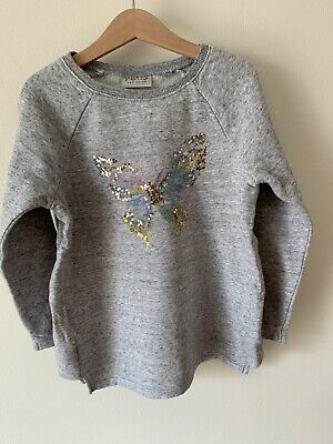 Girls Next Age 7 Years Grey Jumper With A Butterfly Print