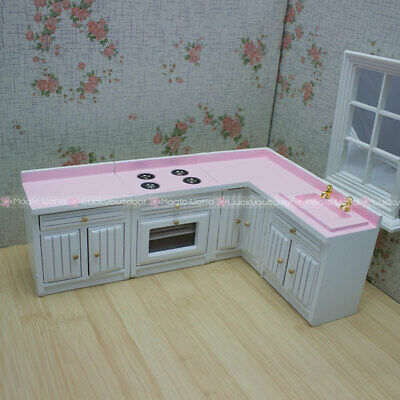 1:12 Dollhouse Miniatures Kitchen Furniture Set Cabinet Cupboard Stove Oven Sink