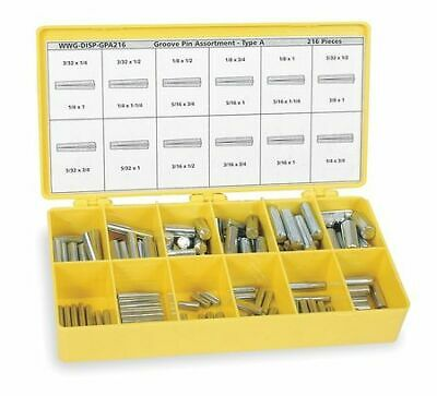 ZORO SELECT WWG-DISP-GP216A Grooved Pin Assortment
