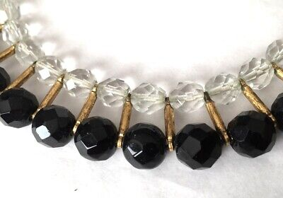 Vtg ANTIQUE Necklace Art Deco or Victorian Black Clear Glass Crystal Bead lot s