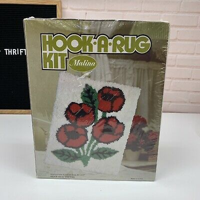 Vintage Hook A Rug Kit Latch Area Rug Wall Hanging New In Box Poppies #25-6