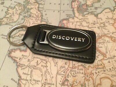Land  Rover Discovery Black Leather Key Ring Fob Heavy Style Green Infill Silver