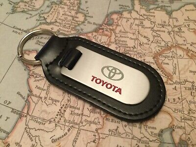 Toyota Black Leather Key Ring Fob Etched And Infilled  Round End