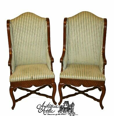 Pair Antique French Regency Wingback Armchairs Wood Exterior Cabriole Legs