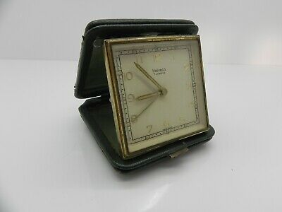 Vintage Helveco 7 Jewels Swiss Made Wind Up Portable Travel Alarm Clock