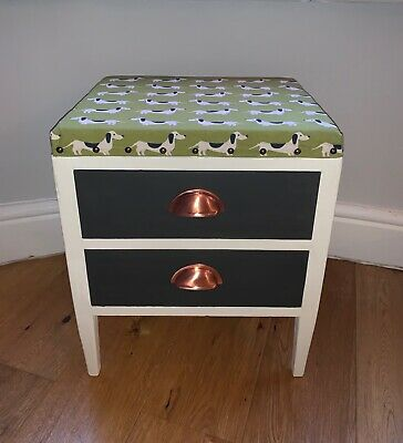 Vintage Upcycled Stool with storage/drawers - Dachshund fabric and detailing