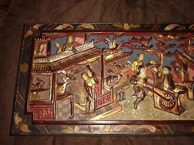 "Antique Chinese / Asian Carved Gilt Painted Wood Panel  17.5"" x 9"" authentic"