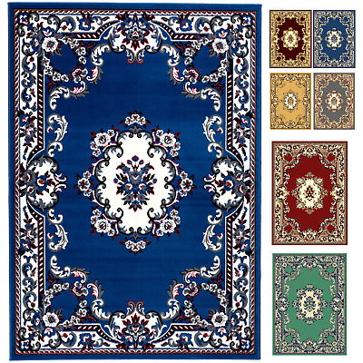 Traditional Rug Classic Floral Chinese Design Timeless Any Room Soft Low Pile
