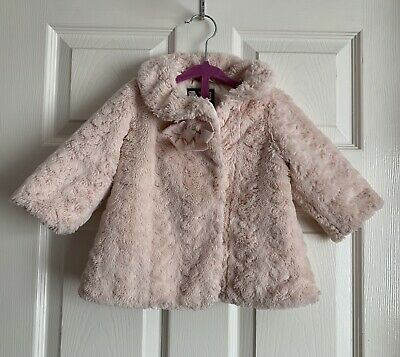 Jasper Conran Girls Cute Light Pink Faux Fur Coat Size 6-9 Months