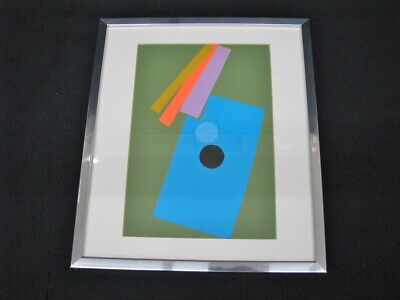 Signed Original Ernest Trova Framed Abstract Composition Of Cut Paper; 1970's