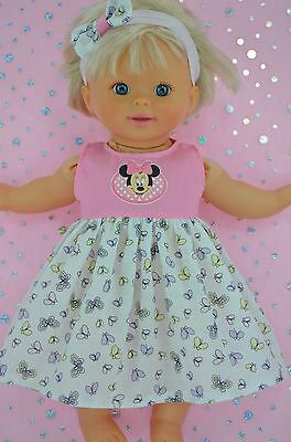 "PlaynWear Dolls Clothes 13"" Little Mommy/Baby Born PINK/BUTTERFLY DRESS~HEADBAND"