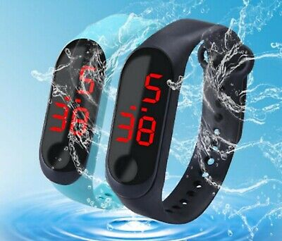 Waterproof Mens Womens Boys Girls Sports Gym Swimming Led Wrist Watch Watches UK