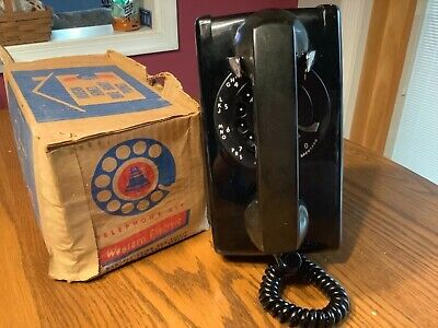 NOS Vintage Black Bell System Western Electric Rotary Wall Phone W/ Box
