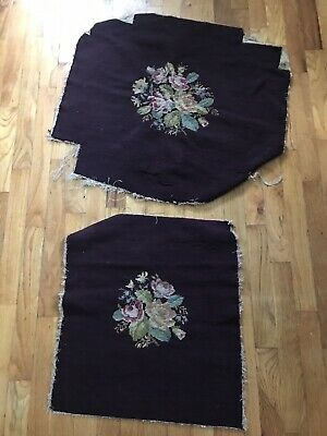 VTG Wool Needlepoint Tapestry Chair Seat Stool Cover Pink Roses! French English