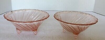 (2) Pair of Vintage Pink Depression Swirl Glass 3 Footed Bowl Scalloped Edge EUC
