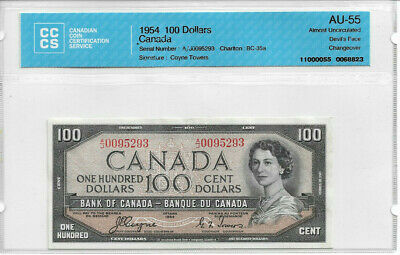 $100 Devil's Face AU55 CCCS Graded Bank of Canada Note BEAUTY