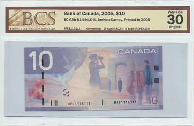 1116111 - 2 DIGIT RADAR/4 CYCLE REPEATER Bank of Canada $10 VF30 Original BCS