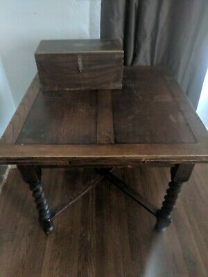 BRITISH English PUB TABLE oak BARLEY TWIST LEGS expandable