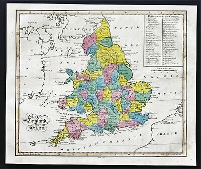 1815 England Wales Map London Bristol Channel County Reference RARE ORIGINAL