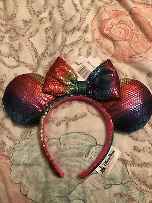 Disney Parks Minnie Mouse Ears Rainbow Headband Bow Hat Metallic Sequin - NEW