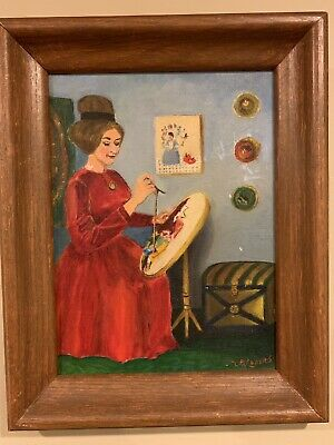 Vintage Original Oil Painting On Canvas Signed By Marie Luders 1969 Wood Framed