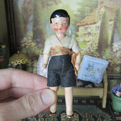 Antique 30s 40s German Dollhouse HERTWIG BOY DOLL Bisque Jointed Clothing Child