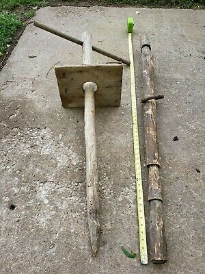 2 Primitive Wood Tools (Rare) Hand Carved, Plunger? Use? Help? Amish Sale Find!