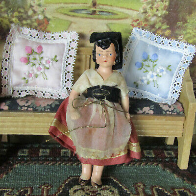 Antique 30s 40s German Dollhouse HERTWIG GIRL DOLL Bisque Jointed Clothing Child